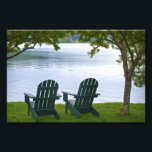 "Adirondack Chairs facing a Lake Photo Print<br><div class=""desc"">A travel photograph of two empty Adirondack chairs under trees facing a calm lake in the Adirondacks. This photo will make a unique souvenir gift from your New York,  USA  vacation.</div>"