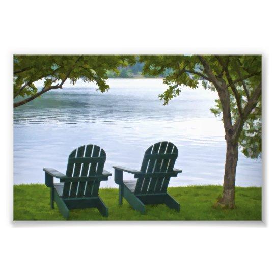 Adirondack Chairs facing a Lake Photo Print