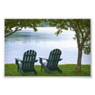 Adirondack Chairs facing a Lake Photo