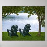 Adirondack Chairs facing a Lake Poster