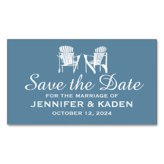 Adirondack Chairs GRAY BLUE   Save the Date Magnetic Business Cards (Pack Of 25)