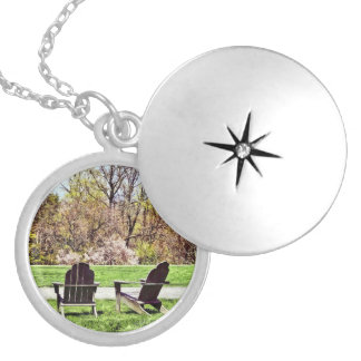 Adirondack Chairs In Spring Silver Plated Necklace