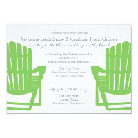 Adirondack Chairs Lime and Navy Beach Wedding Card