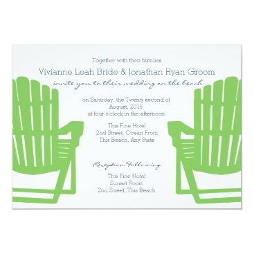 Beach Themed Adirondack Chairs Lime and Navy Beach Wedding Card