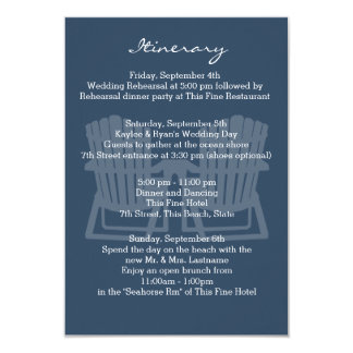 Adirondack Chairs Navy Blue Intinerary Card