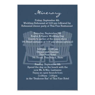 Adirondack Chairs Navy Blue Intinerary Card