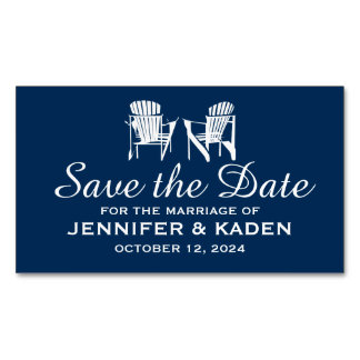 Adirondack Chairs Navy Blue   Save the Date Magnetic Business Cards (Pack Of 25)