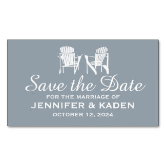 Adirondack Chairs SILVER GRAY | Save the Date Magnetic Business Cards (Pack Of 25)
