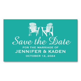 Adirondack Chairs TEAL | Save the Date Business Card Magnet