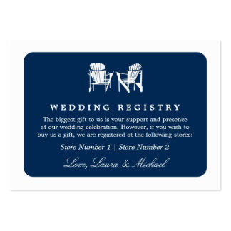 Adirondack Chairs | Wedding Bridal Gift Registry Large Business Cards (Pack Of 100)