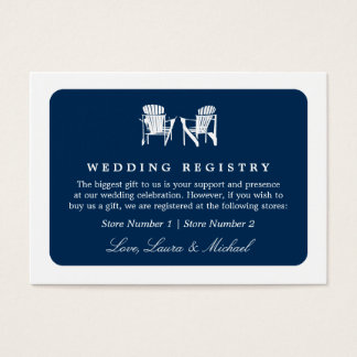 Adirondack Chairs | Wedding Bridal Gift Registry Business Card