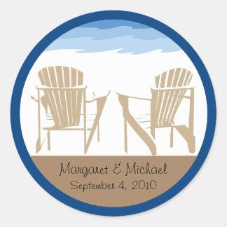 Adirondack Chairs   Wedding Classic Round Sticker