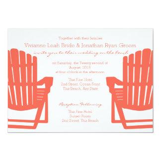 Adirondack Coral Beach Chairs Wedding Card