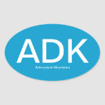 Adirondack Mountains ADK Oval Bumper Sticker