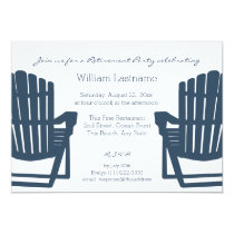 Adirondack Navy Blue Beach Chairs Retirement Party Card