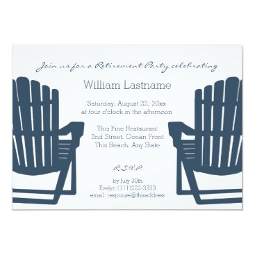 happygotimes Adirondack Navy Blue Beach Chairs Retirement Party Card