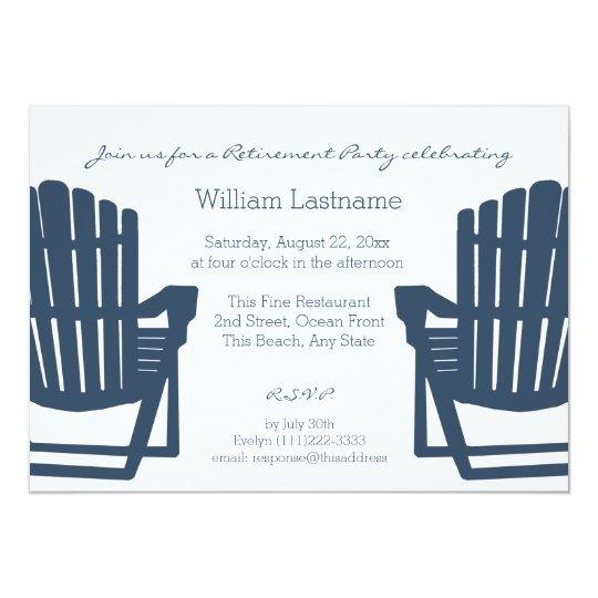 Adirondack Navy Blue Beach Chairs Retirement Party Card Zazzle Com