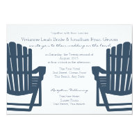 Adirondack Navy Blue Beach Chairs Wedding Card