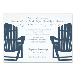 Adirondack Navy Blue Beach Chairs Wedding 5x7 Paper Invitation Card