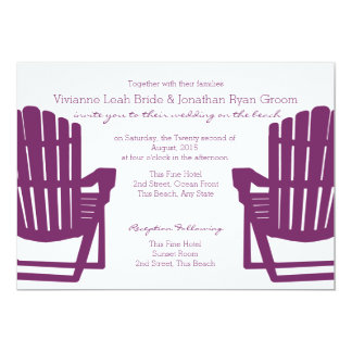 Adirondack Plum Beach Chairs Wedding Card