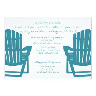 Adirondack preside el boda de playa invitación