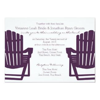Adirondack Purple Beach Chairs Wedding Card