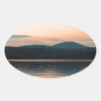 Adirondacks Long Lake Sunset Oval Sticker