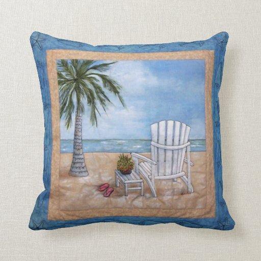 Throw Pillow On Chair : Adirondak Chair on Wrightsville Beach Throw Pillow Zazzle