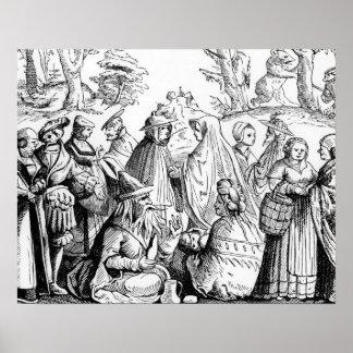 Adivinación de los gitanos, después de un grabar e póster