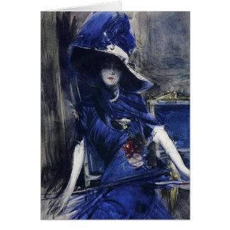 Adivine en tarjeta de felicitación azul