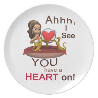 Adivino del día de San Valentín Plato Para Fiesta