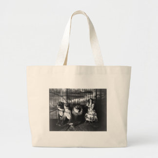 Adjie and the Lions 1899 Large Tote Bag