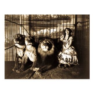 Adjie y el circo 1899 del vintage de los leones postal