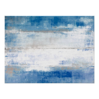 'Adjust' Blue and Grey Abstract Art Poster