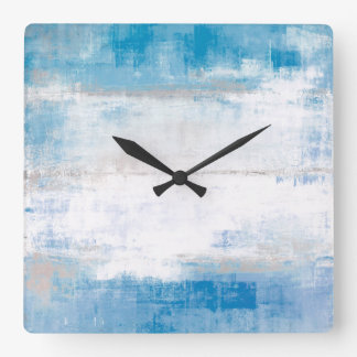 'Adjust' Blue and Grey Abstract Art Square Wall Clock