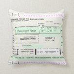 Adjust This Airline Boarding Ticket Throw Pillow at Zazzle