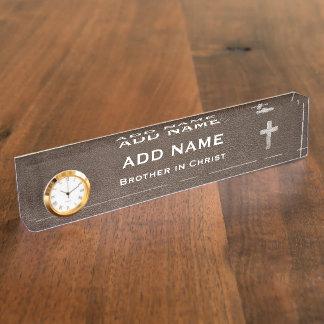 Adjust This Metal Cross Desk Name Plate