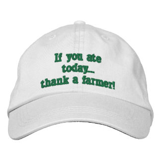 adjustable baseball cap, with farming quote. cap