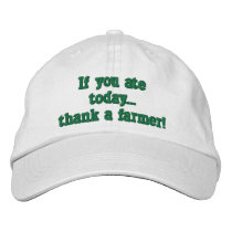 adjustable baseball cap, with farming quote. embroidered baseball hat