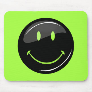 Adjustable Color Neon Background Black Smiley Mouse Pad
