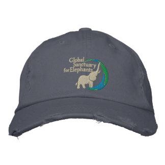 Adjustable distressed baseball cap with logo