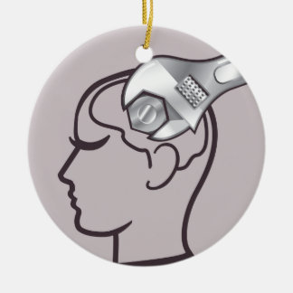 Adjustable wrench brain adjust ceramic ornament