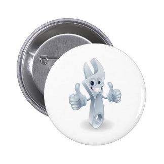 Adjustable wrench man pinback button