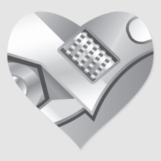 Adjustable wrench vector nuts bolts heart sticker