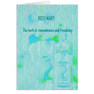 Adjustible Text Aquamarine Rosemary Herbal Meaning Card