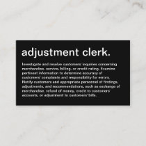 adjustment clerk with description business card