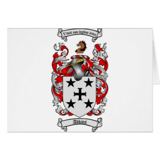 Adkins Coat of Arms / Adkins Family Crest Card