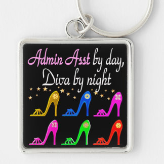 ADMIN ASST SHOE QUEEN Silver-Colored SQUARE KEYCHAIN