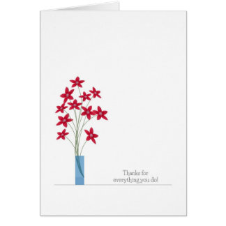Admin Professionals Day Cards, Red Flowers Greeting Card