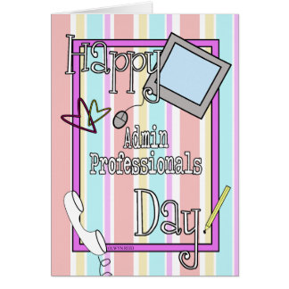 Admin Professionals Day with Stripes and Phone Greeting Card